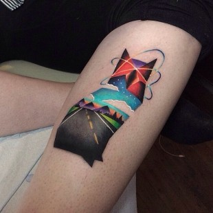 Kitty on the Road Tattoo